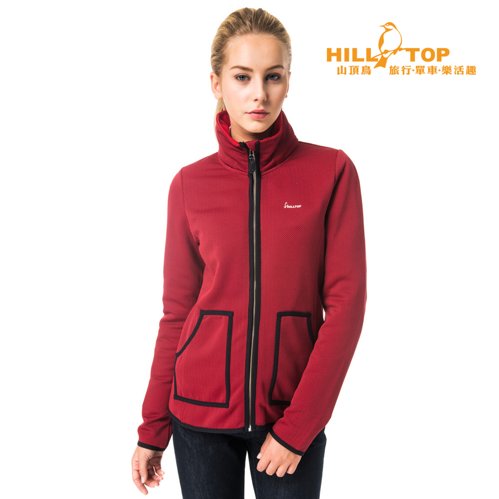 【hilltop山頂鳥】女款吸濕ZISOFIT保暖刷毛外套H22FT3紅/黑