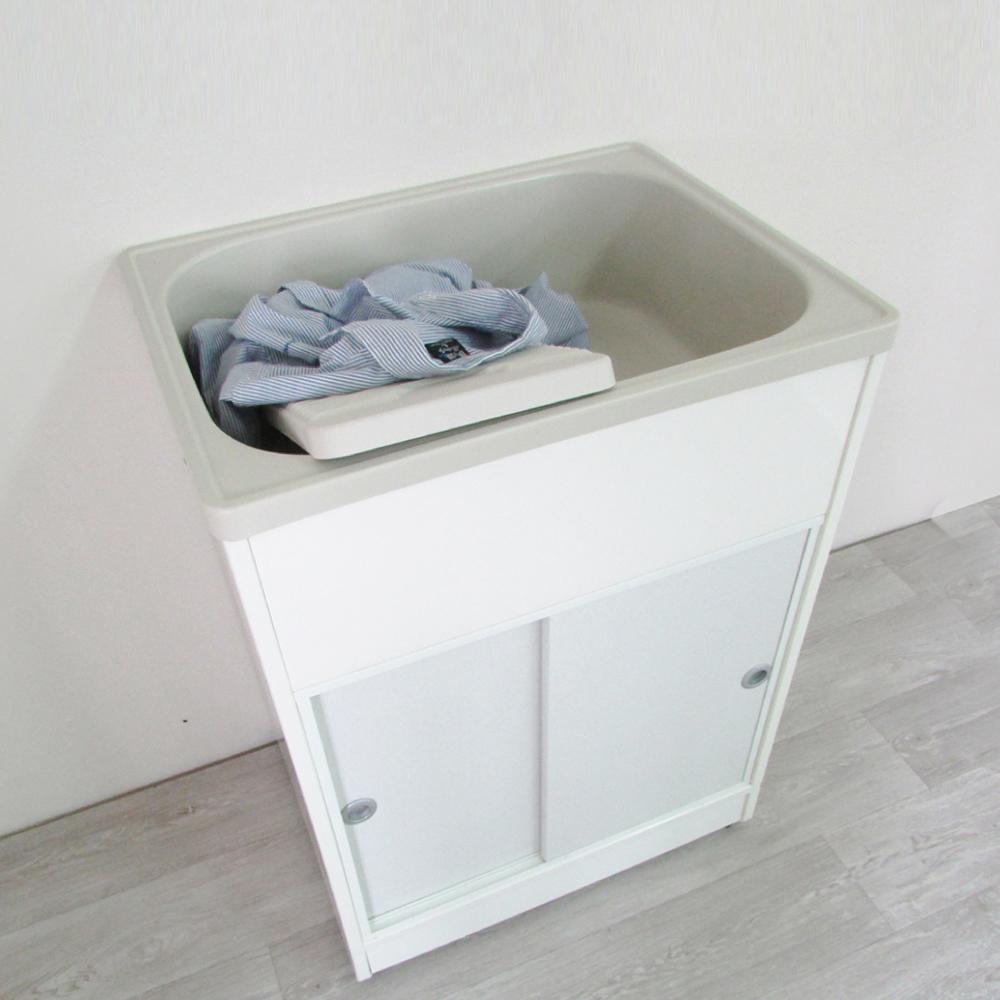 Amos-精緻櫥櫃型洗衣槽附洗衣板(單槽)W62.3*D48*H84 CM