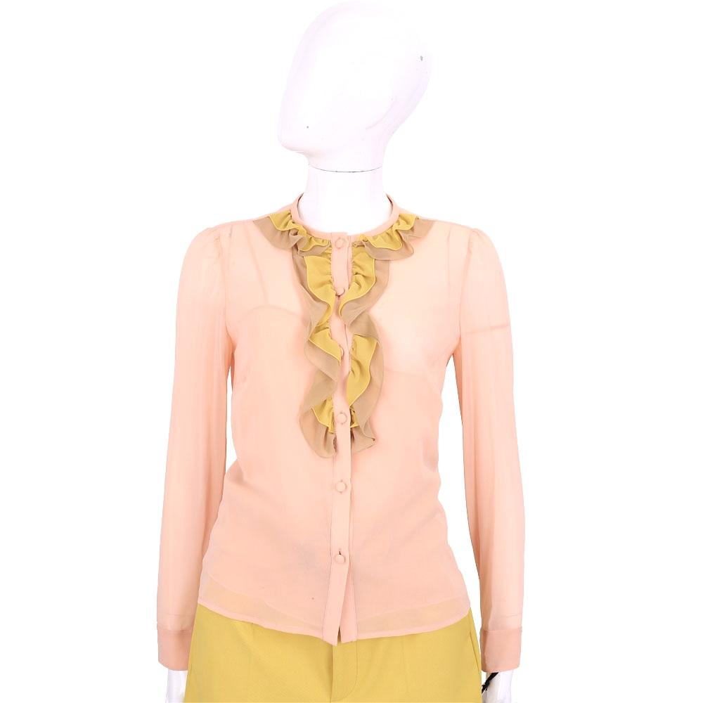 RED VALENTINO 粉橘雙色荷葉設計絲質長袖襯衫