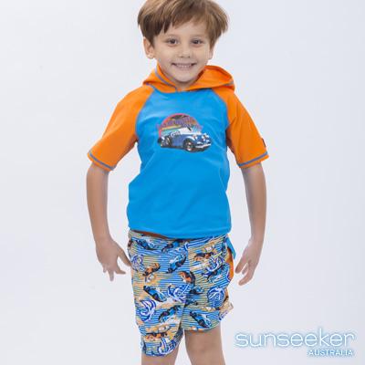 澳洲Sunseeker泳裝抗UV防曬短袖泳衣+泳褲-小男童兩件式泳衣組/汽車橘