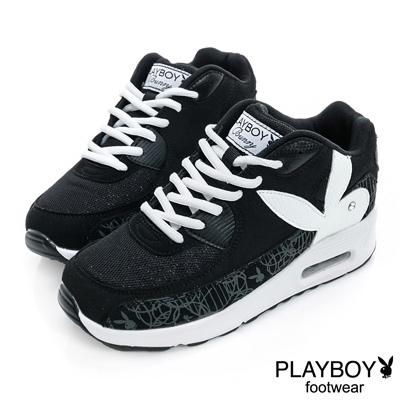 PLAYBOY-活潑步調-新潮圖案氣墊休閒鞋-黑白-女