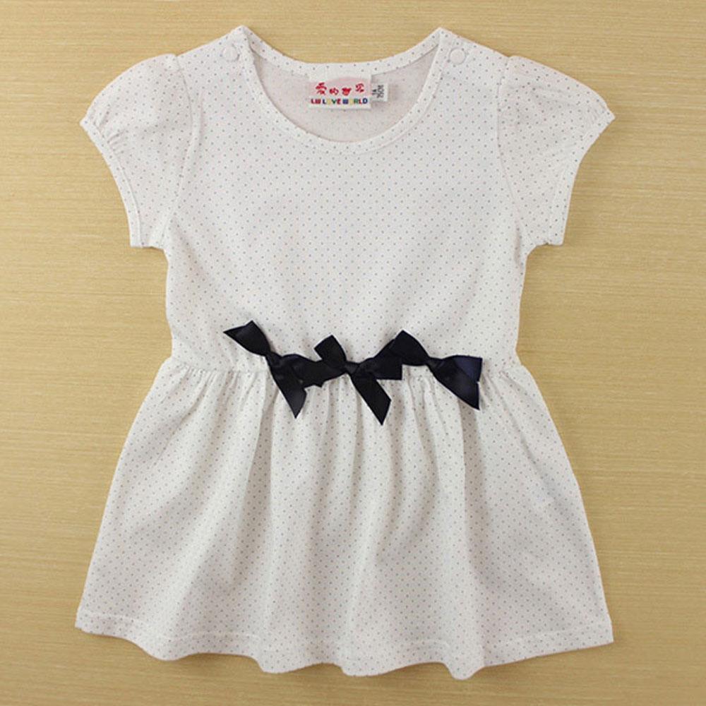 愛的世界 SUPERMINI 純棉圓領蝴蝶結短袖洋裝/1~3歲