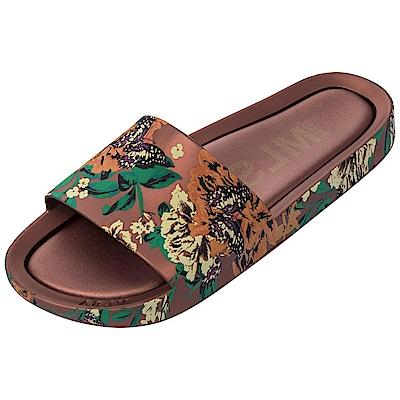 MELISSA 彩繪春天印花時尚拖鞋-古銅色