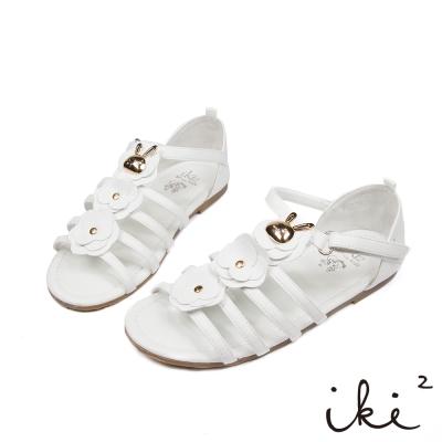 iki2童鞋-咕妮兔系列-羅馬花朵涼鞋-浪花白