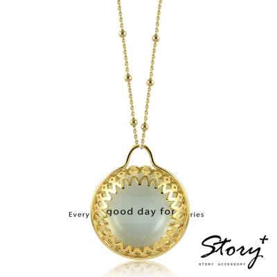 STORY故事銀飾-放大鏡-蕾絲包鑲純銀項鍊(黃K金)