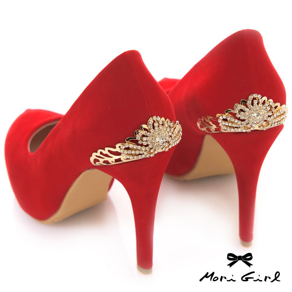 Mori girl後金色水鑽皇冠高跟鞋 紅