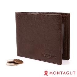 MONTAGUT夢特嬌-自然派皮紋植鞣牛皮真皮 短夾-6卡1照2夾