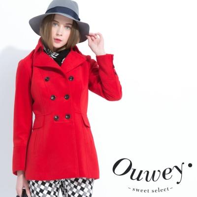 OUWEY歐薇-雙排釦中長版外套