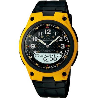 CASIO 城市都會時尚雙顯腕錶(AW-80-9B)-黃框