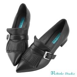 Robinlo Studio 率性俐落牛皮尖頭粗跟鞋 黑
