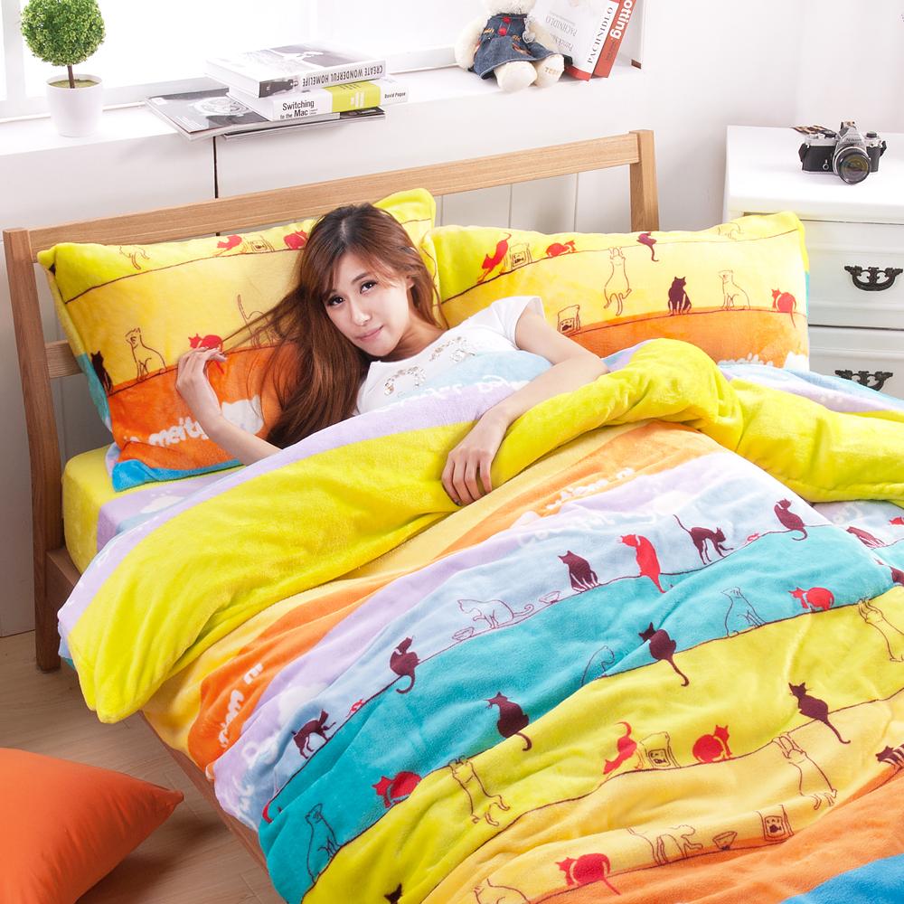 濱川佐櫻-快樂貓咪 單人三件式嚴選特厚法蘭絨兩用毯被床包組