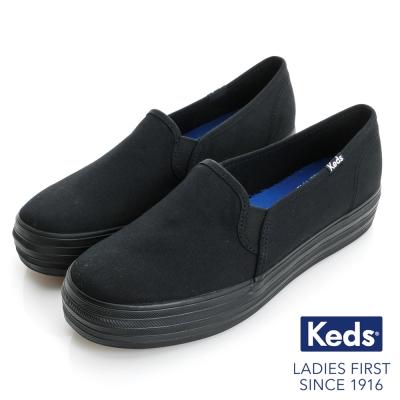 Keds 品牌經典厚底休閒便鞋-全黑
