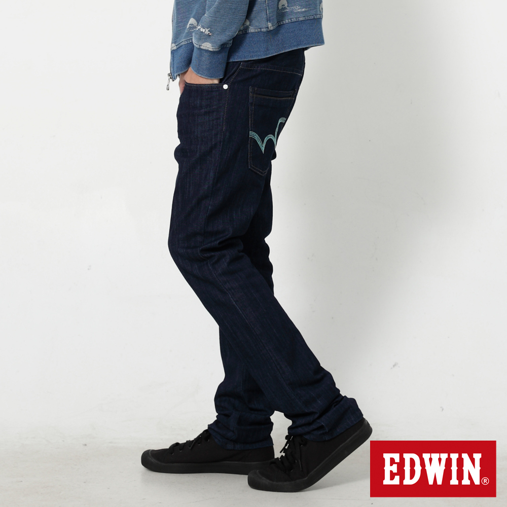 EDWIN 大尺碼EDGE麂皮芽邊小直筒牛仔褲-男-原藍色