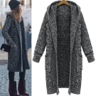 La Belleza韓系修身加厚混色連帽開衫針織毛衣長版外套
