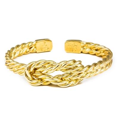 Kiel James Patrick 美國手工船錨幸運水手繩結金色可調整手環