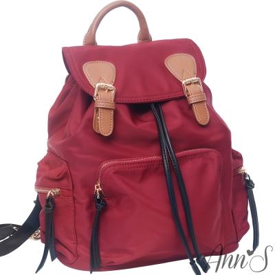 Ann'S休閒大容量-素面防水尼龍束口後背包-紅