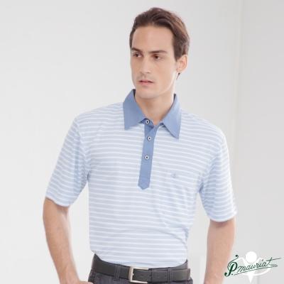 PAUL MAURIAT波爾.瑪亞吸溼排汗短袖POLO衫-藍