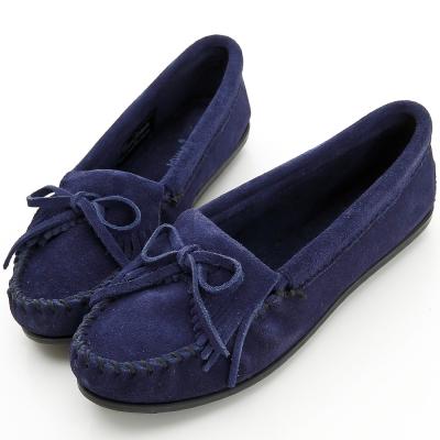 MINNETONKA 海軍藍麂皮素面莫卡辛 女鞋
