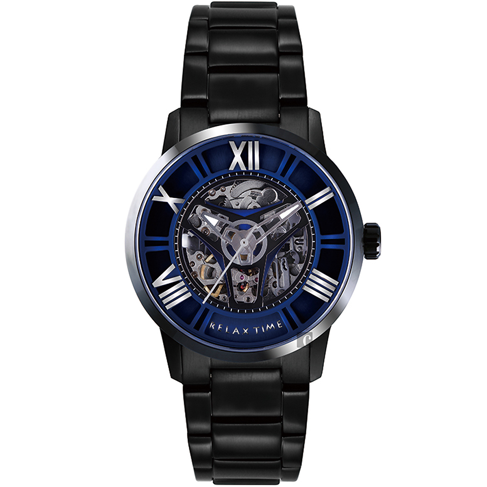 RELAX TIME RT61X系列 羅馬鏤空機械錶(RT-61X-5)-藍x黑45mm