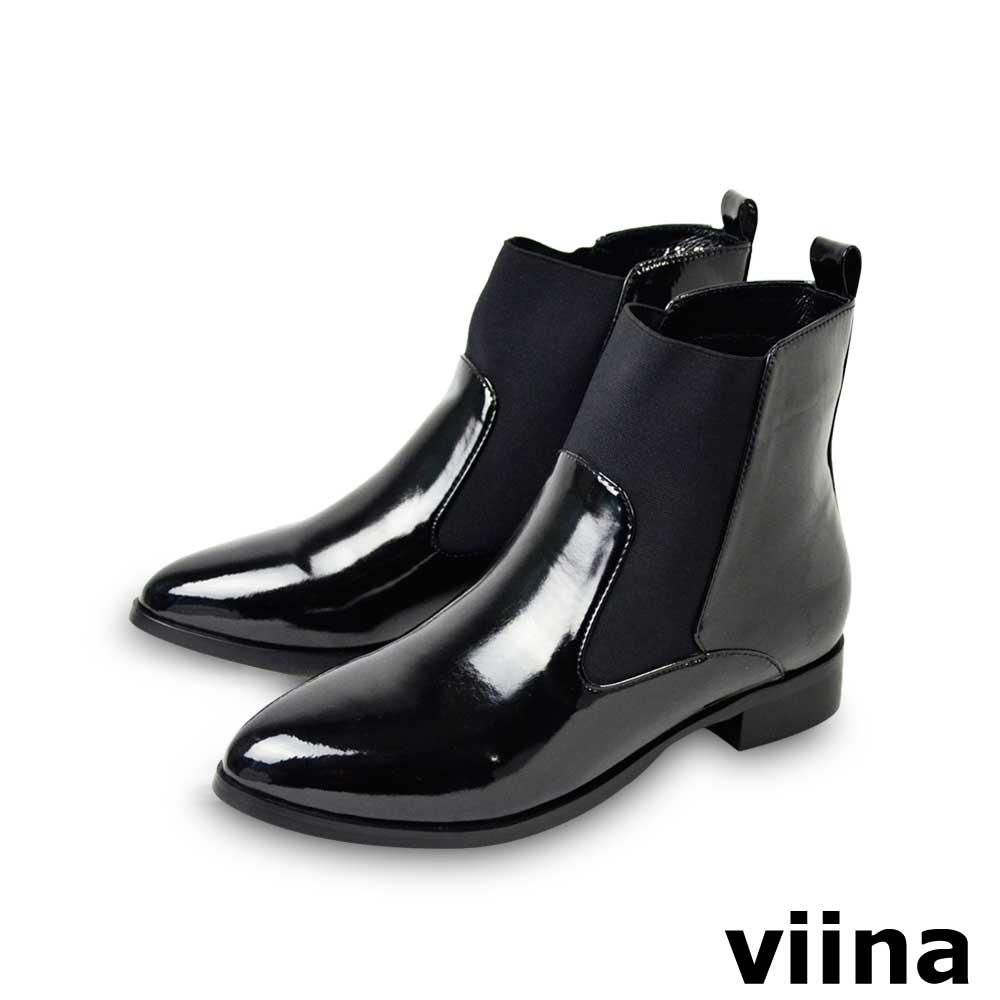 viina-率性時尚亮皮彈性布短靴