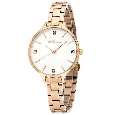 ViVi Fleurs 優雅凝情不鏽鋼時尚腕錶-玫瑰金x白/33mm