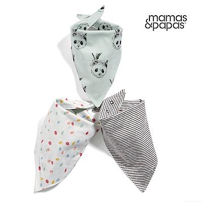 【Mamas & Papas】熊貓調色盤-雙面領巾/口水巾3件組