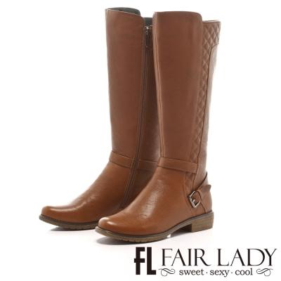 Fair Lady 法式氛圍菱格紋長筒靴 卡其