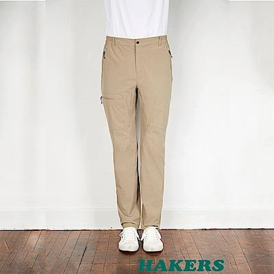 【HAKERS】男-快乾彈性長褲-卡其