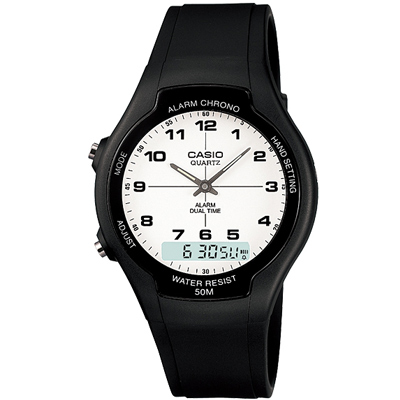 CASIO 酷炫經典指針雙顯錶(AW-90H-7B)-白/39mm