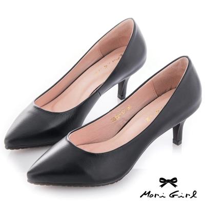Mori girl 修飾款真皮微尖頭中跟鞋 黑