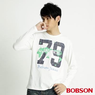 BOBSON 男款79印圖長袖上衣(米白81)