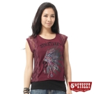 5th STREET T恤 印地安頭像蕾絲T恤-女-朱紅