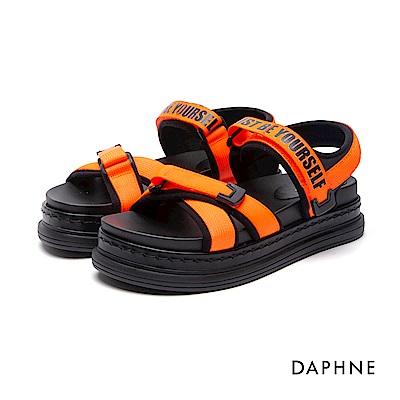 達芙妮DAPHNE 涼鞋-字母印花魔鬼氈交叉寬帶厚底涼鞋-橘