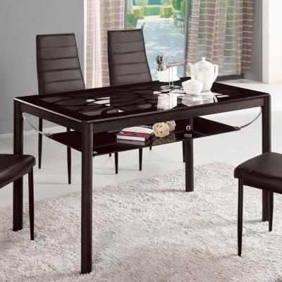Bernice-洛克4尺黑色玻璃餐桌120x70x75cm
