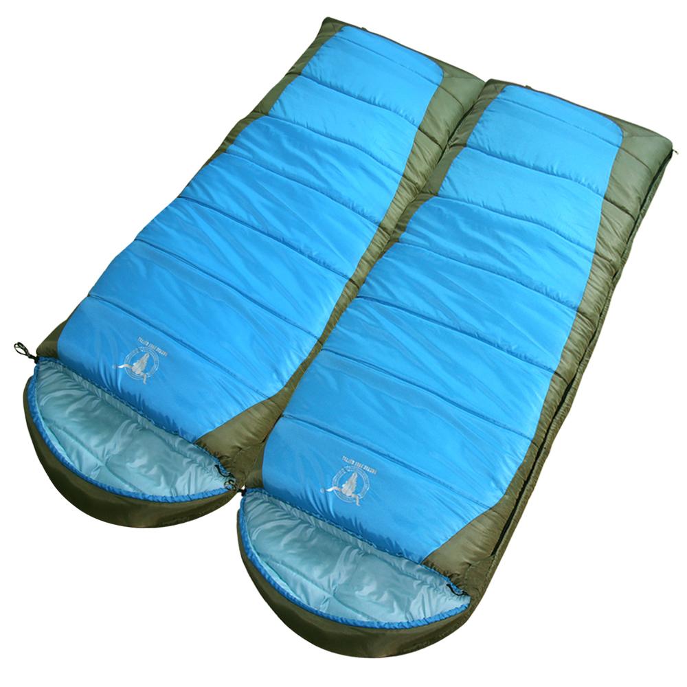 【APC】秋冬加長加寬可拼接全開式睡袋(雙層七孔棉)-藍色 (2入組)