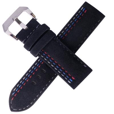 TED SU 太和錶帶賽車主題ALCANTARA錶帶沛納海大型錶代用黑色- 24 * 24