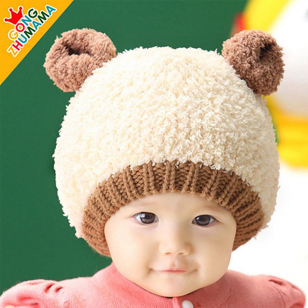 韓版-小熊3D兒童加絨毛帽