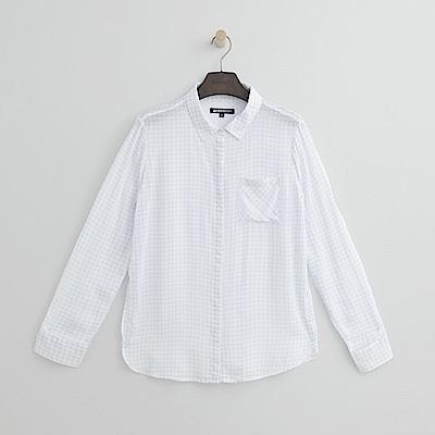 Hang Ten - 女裝 - 格紋寬版襯衫-粉藍色