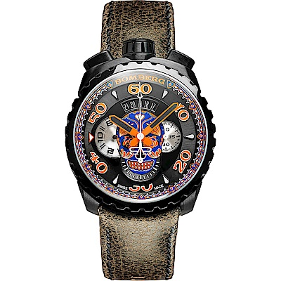 BOMBERG 炸彈錶 BOLT-68 藍骷顱限量計時手錶-咖啡/45mm