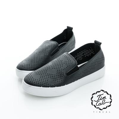 TINCAL-美式休閒-舒適透氣孔洞外增高鞋-黑色