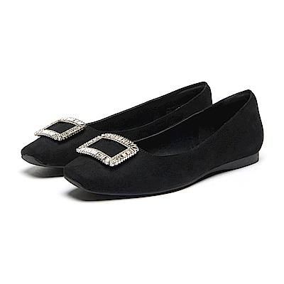達芙妮DAPHNE 娃娃鞋-水鑽釦飾布面低娃娃鞋-黑