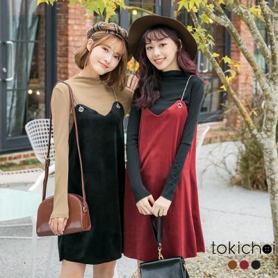 東京著衣 多色兩件式細肩帶鍊條絨布洋裝-S.M(共三色)