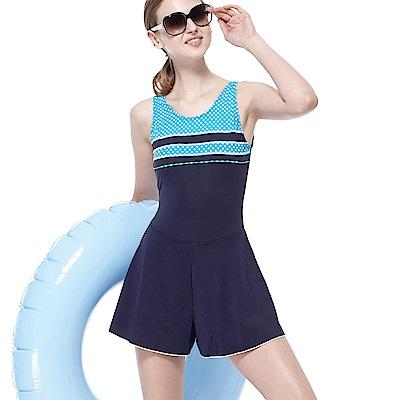 聖手牌 泳裝 橫紋連身褲裙式女泳裝