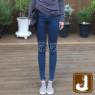 正韓 小星星甜美補丁鉛筆褲(共二色)-100%Korea Jeans