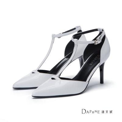 達芙妮DAPHNE 高跟鞋-T字中空尖頭高跟鞋-白