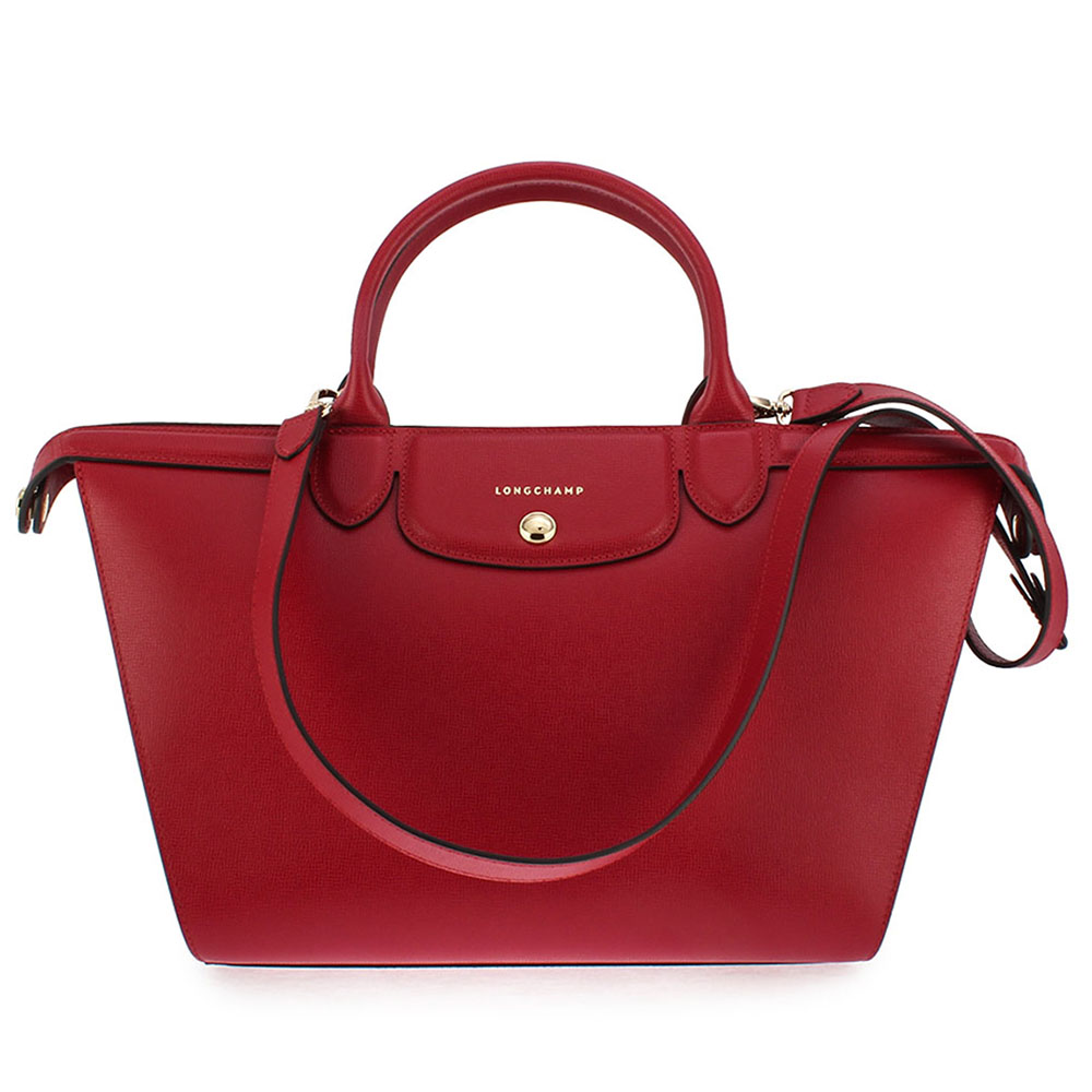 Longchamp Le Pliage Heritage 法式典雅兩用水餃包-深紅色/大