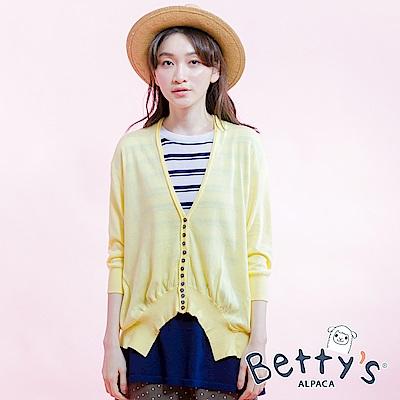 betty's貝蒂思 純色排扣針織衫(淺黃)