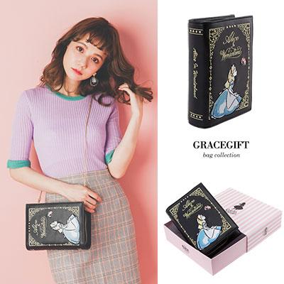 Disney collection by Grace gift-愛麗絲手拿書本金屬鍊側背包