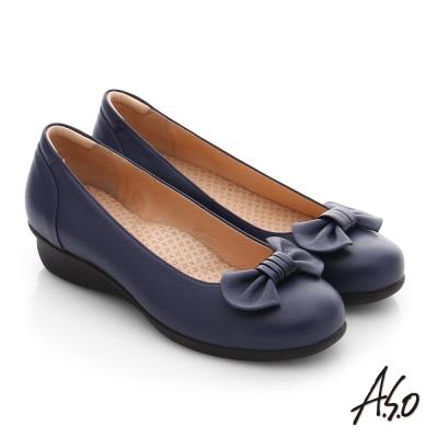 A.S.O 舒活寬楦 真皮蝴蝶結飾楔型鞋 藍色