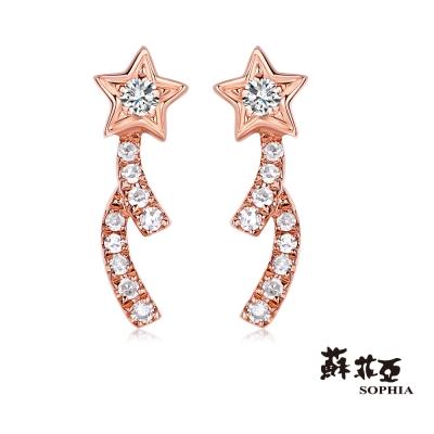 蘇菲亞SOPHIA 鑽石耳環 - 許願流星玫瑰金鑽石耳環